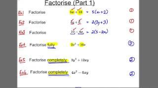 GCSE Revision Video 6 - Factorise (1)
