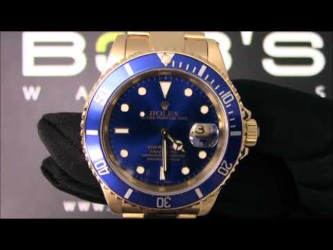Rolex 18k Yellow Gold Submariner 16618 Certified Pre-Owned For Sale