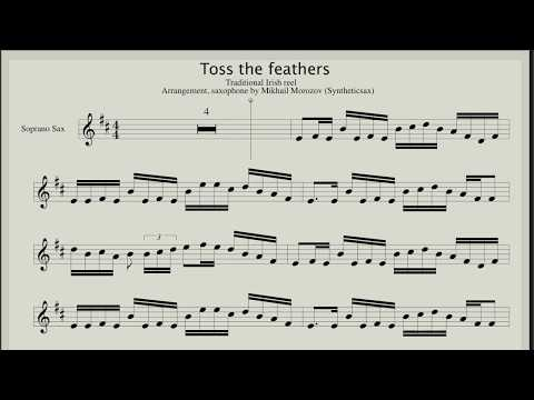 Toss The Feathers (Traditional Irish Reel) Backing track & Score for sax soprano