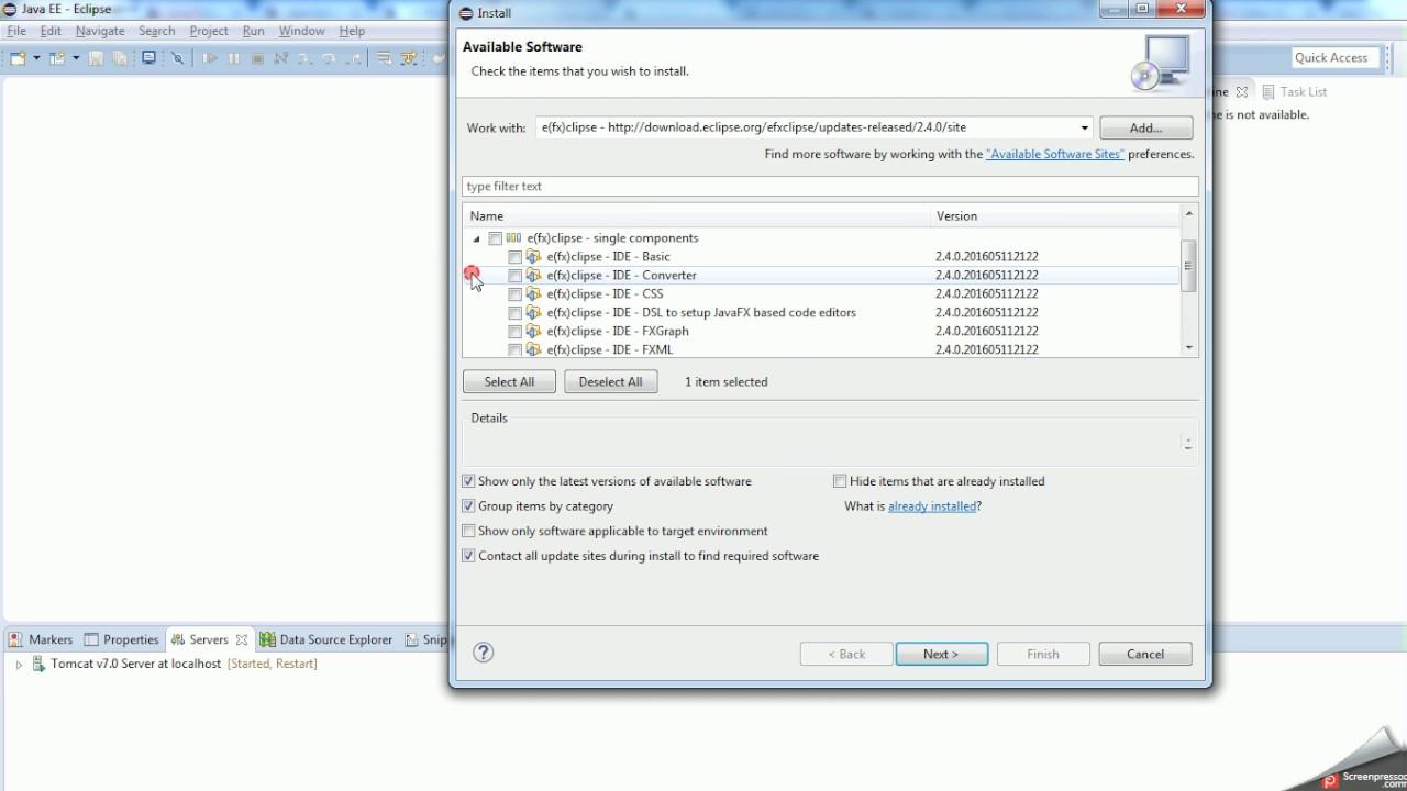 JavaFx Eclipse fx Installation
