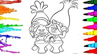 Coloring Books Trolls Princess Poppy and Dj Suki Coloring Pages l How to Draw and Learn Colors