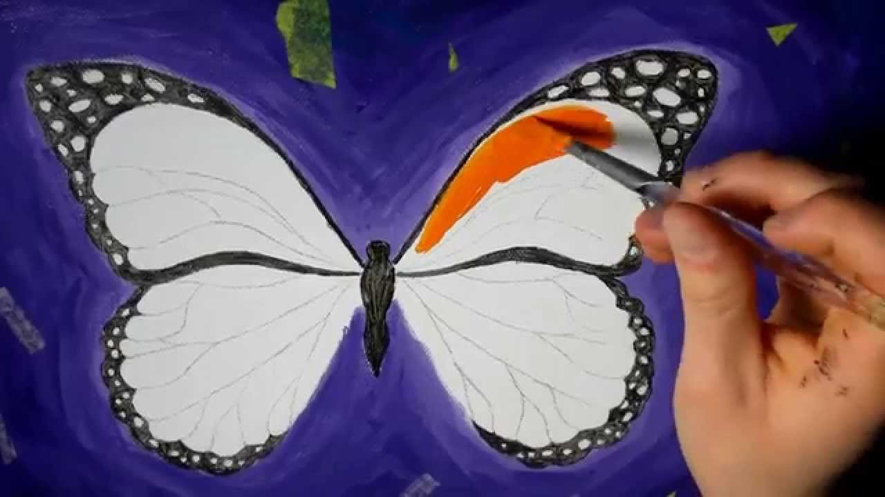Butterfly - Acrylic Speed Painting - YouTube for Butterfly Painting Designs  113cpg