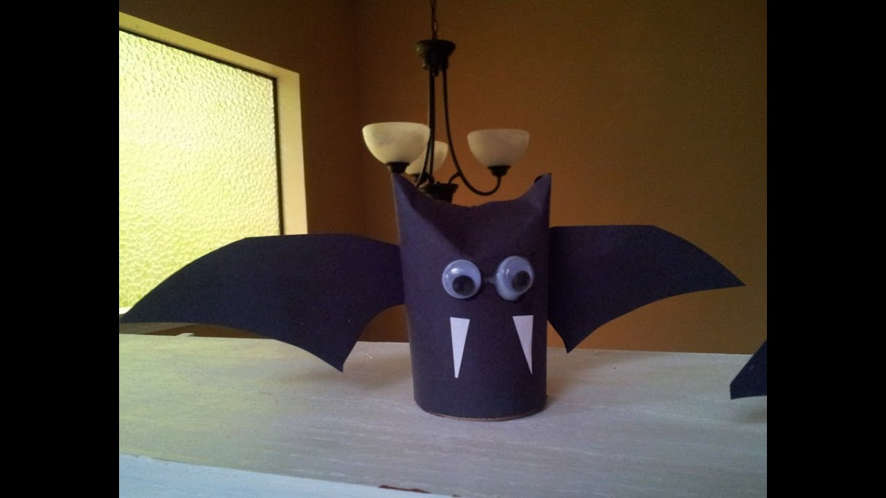How to make a vampire bat recycled toilet paper tube craft for Recycling toilet paper tubes