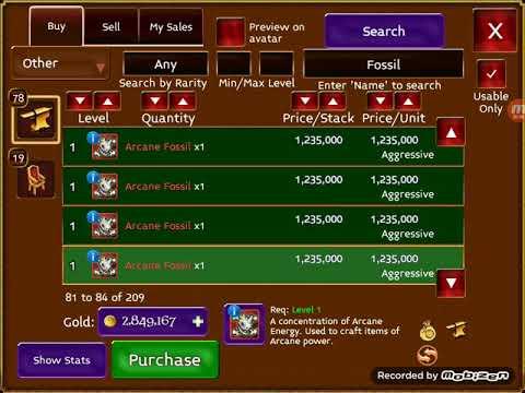 Arcane Legends: Selling 500x ARCANE FOSSILS