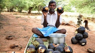 Cutting Palm Tree Fruit Using Old Tool and Boiling Method of Cooking Palmyra Fruit | Wild Food