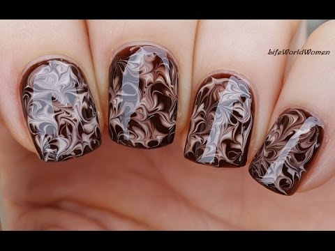 Needle Nail Art 20 Dry Marble Chocolate Nails Youtube