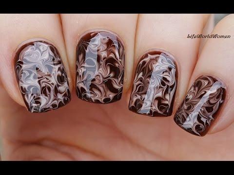 Needle Nail Art 20 Dry Marble Chocolate Nails Youtube