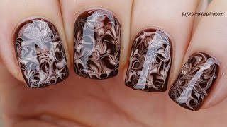 NEEDLE NAIL ART #20 - Dry Marble Chocolate Nails