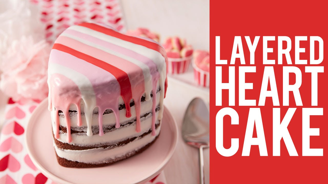 How to Make a Layered Heart Cake for Valentines Day YouTube
