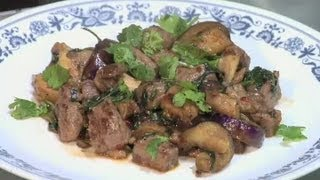 Thai Beef Stir Fry With Eggplant, Mushrooms, Basil & Cilantro : Mushroom Recipes & More