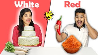 White Vs Red Food Eating Challenge | White Vs Red Food Eating Competition | Hungry Birds