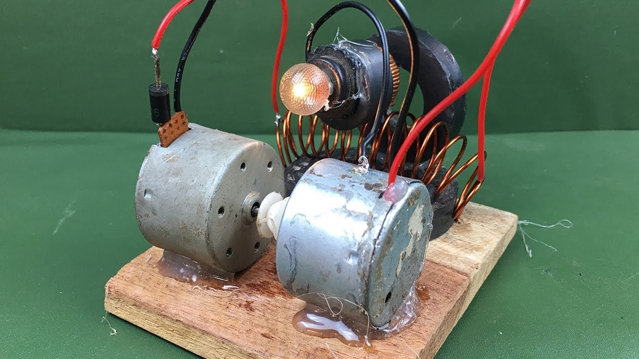 Awesome diy science technology project - Free energy generator magnetic running dc motors homemade