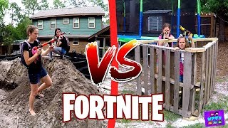 FORTNITE IN REAL LIFE - FAMILY PLAYING FORTNITE BATTLE ROYALE NERF STYLE IRL WITH DANCE