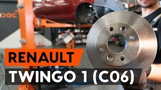 How to replace Brake rotors kit on RENAULT TWINGO I (C06_) - video tutorial