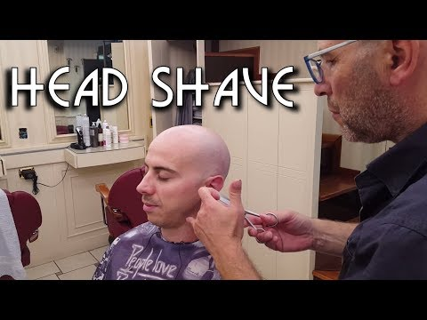 💈 Italian barber -  Head Shave, Shampoo and Ears Hair Eyebrows trimming - ASMR no talking