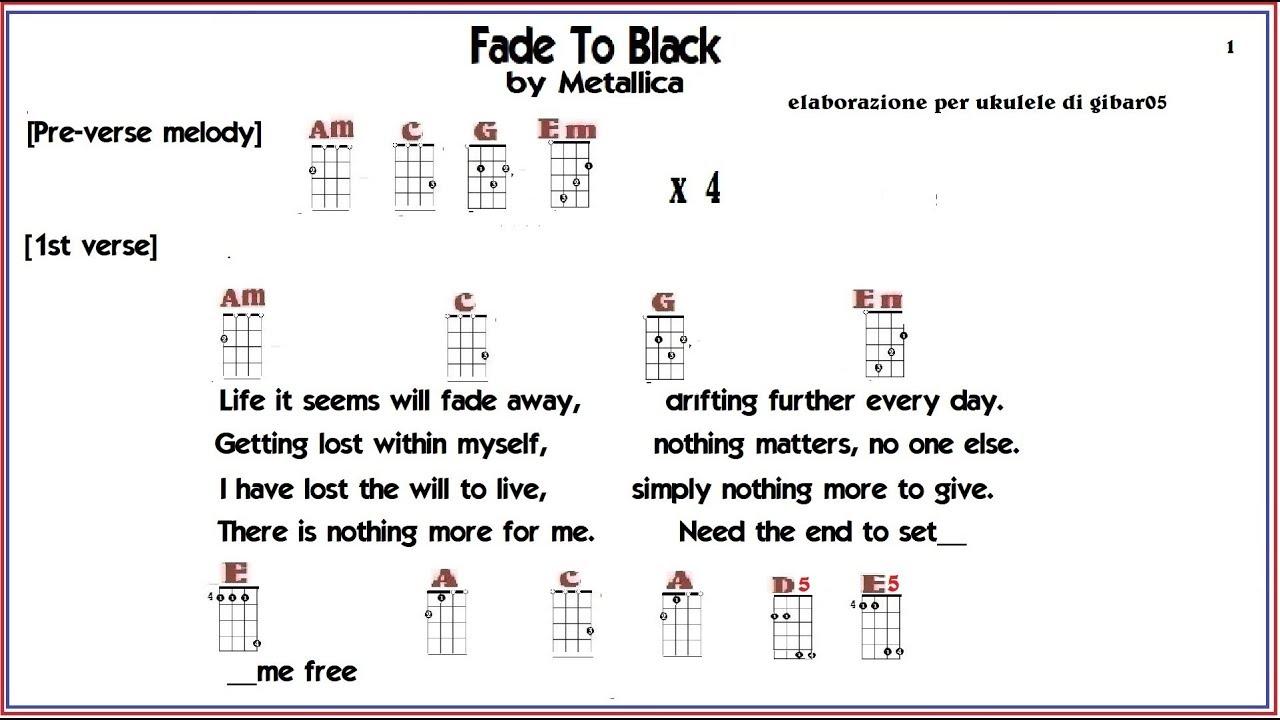 Fade To Black Metallica Chords For Ukulele Youtube
