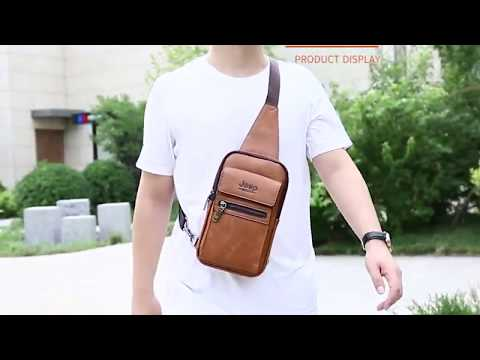 JEEP BULUO High Quality Men Chest Bags Split Leather Large Size Shoulder Crossbody Bag For Young Man