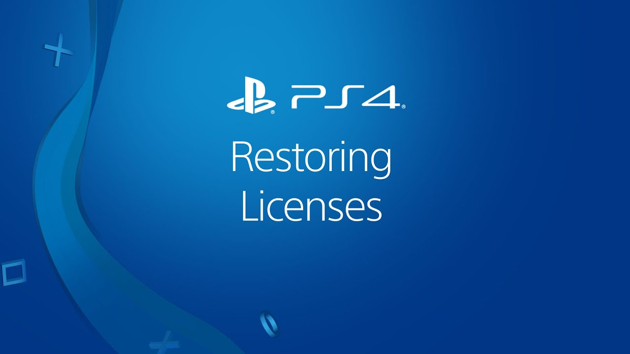 Video guide to restoring licenses on PS4