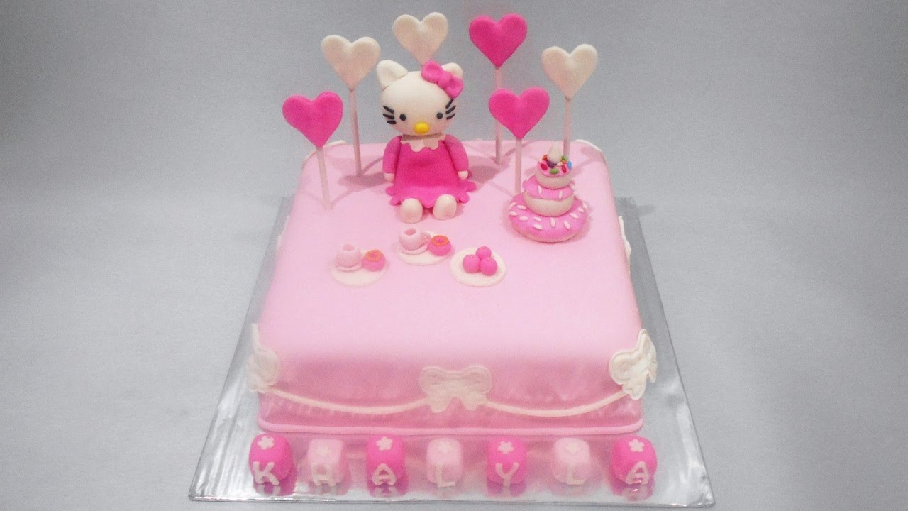 Hello Kitty Birthday Cake Fondant Youtube