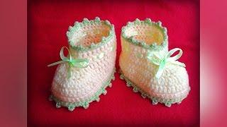 Пинетки крючком для начинающих. Booties crochet for beginner(Мк подошвы тут: https://youtu.be/6JWhPHx89OY Группа Вконтакте: http://vk.com/vse_o_vyazanii Также можете посмотреть как вязать красив..., 2016-03-06T22:59:20.000Z)