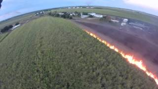 Sugar Cane Burning. Filmed by drone