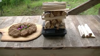 rocket oven:  how much wood to bake pizza, corn bread, cookies, muffins and fruit loaf