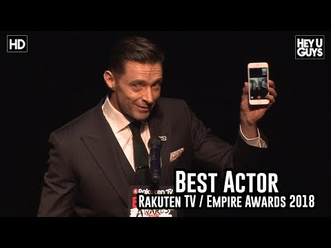 Hugh Jackman Facetimes his wife during the Best Actor award speech  Empire Awards 2018