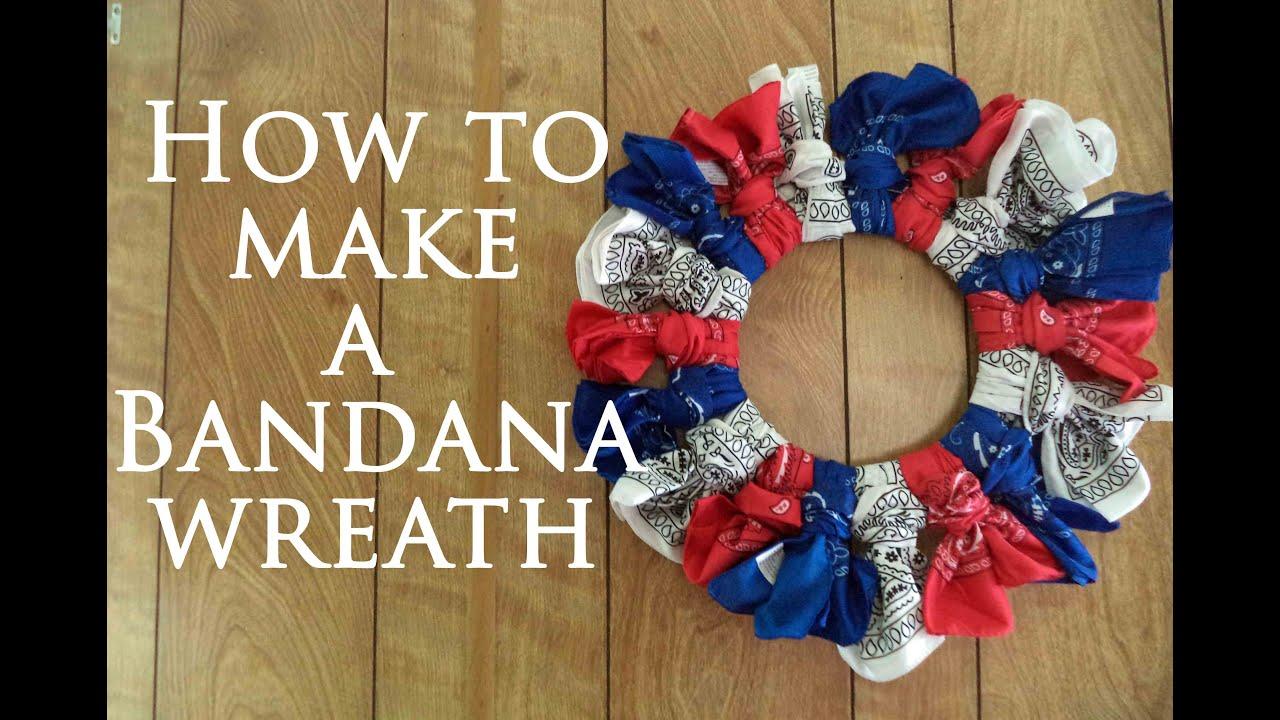 Colorful Bandana Summer Wreath - momhomeguide.com  Bandana Wreath Directions