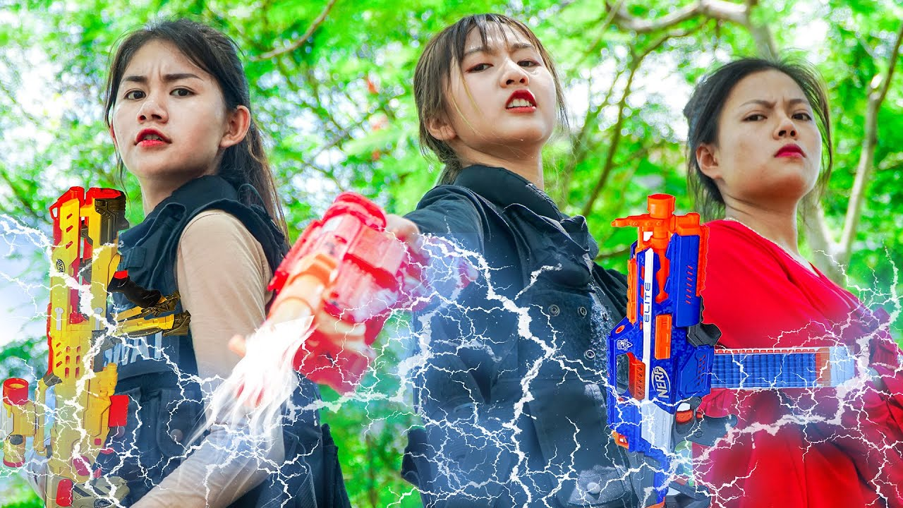 XGirl Nerf War: Cherry SEAL Hunter Electric NERF ! X Girl Nerf Guns Criminal Team