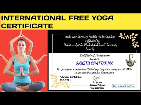 International Yoga Certificate With in 2 Minute | Free Yoga Certificate | Free Government Yoga ||