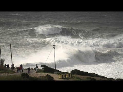 30ft Waves Hit Portugal Coastline
