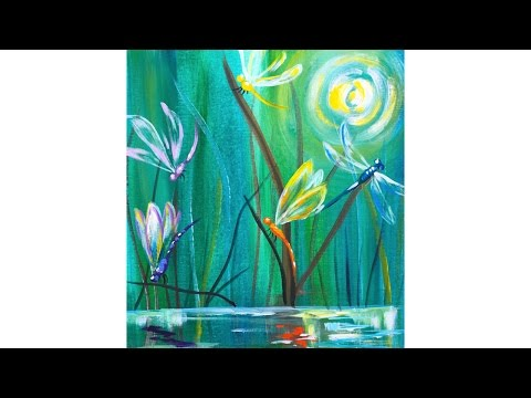 Dragonfly Pond Easy Beginner Acrylic Painting Tutorial