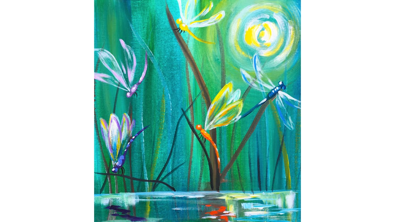 dragonfly pond easy beginner acrylic painting tutorial youtube