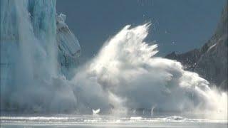extreme glacier calving hubbard glacier alaska