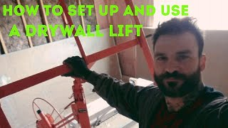 How to use a lift and hang drywall with a lift.