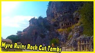 Myra Ruins Rock Cut Tombs. Lycian Turkey - Ancient Site of Myra, Lycia 2018. Travel to Turkey 2018.