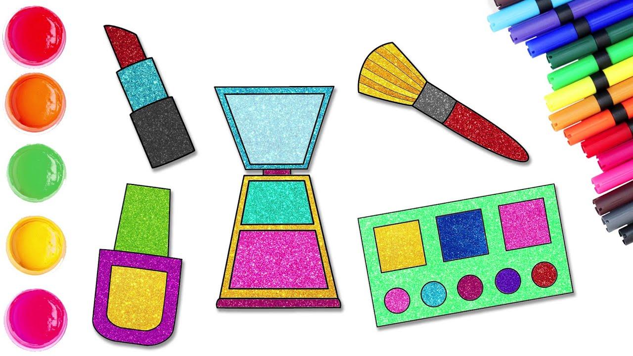 Cómo dibujar un kit de maquillaje con glitter - Dibujos sencillos | Chiki-Arte Aprende a Dibujar