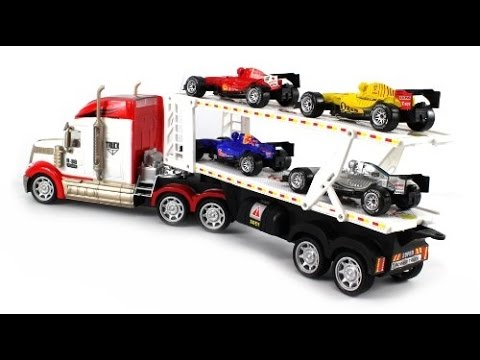 toy trucks and trailers trucks toys for kids youtube. Black Bedroom Furniture Sets. Home Design Ideas