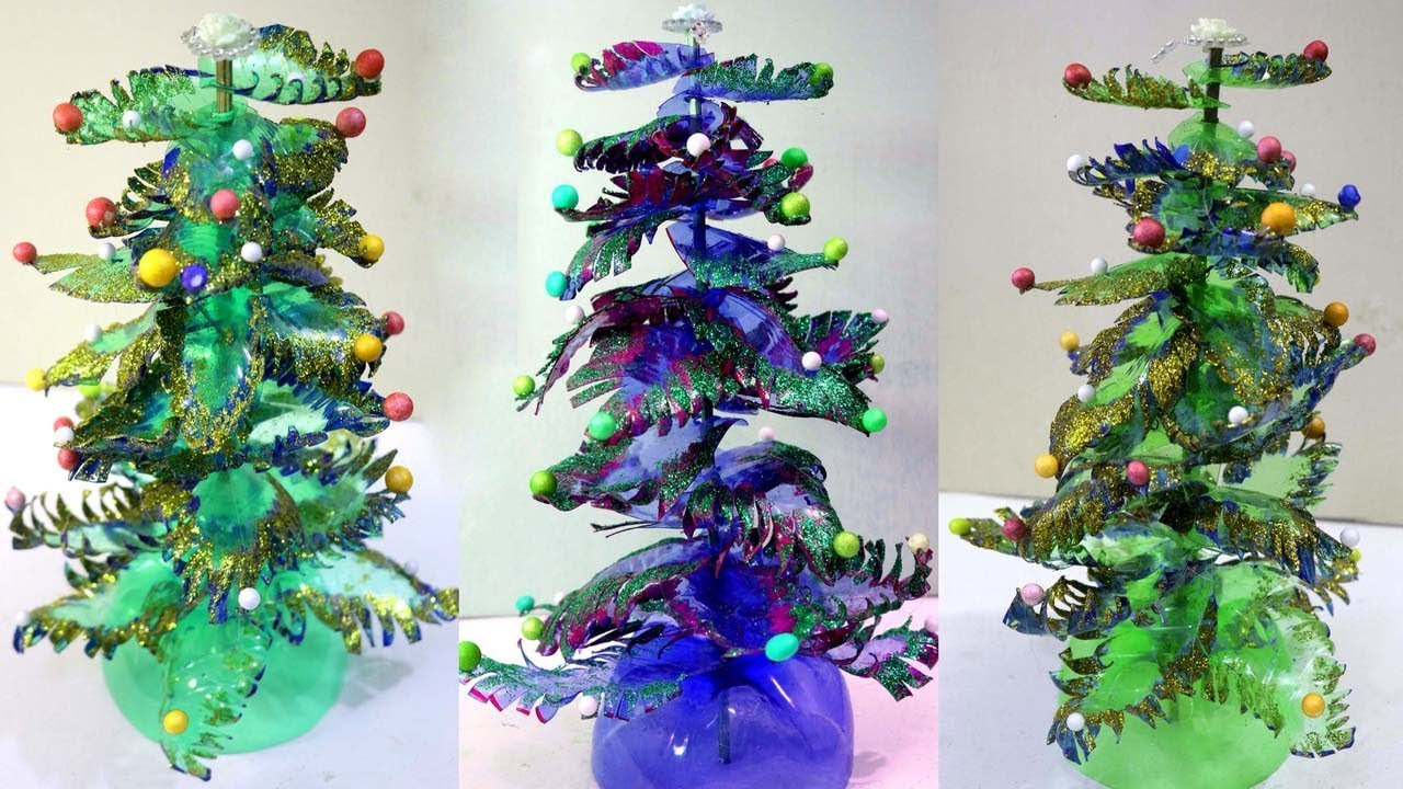 Christmas decorations recycled plastic Christmas tree ideas using recycled materials