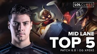 Top 5 Mid Lane Champions Patch 6.8 by OG xPeke - Season 6 | League of Legends