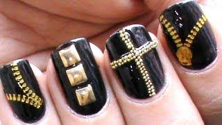 Zipper Decals & Studs: Diy Black Gold Nail Polish Designs
