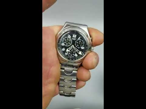 d2ea761a15f Men s Swatch Watch Irony Stainless Chronograph 4 Jewels Black Dial New  Battery