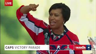 Mayor Muriel Bowser speaks at the Washington Capitals Victory Parade