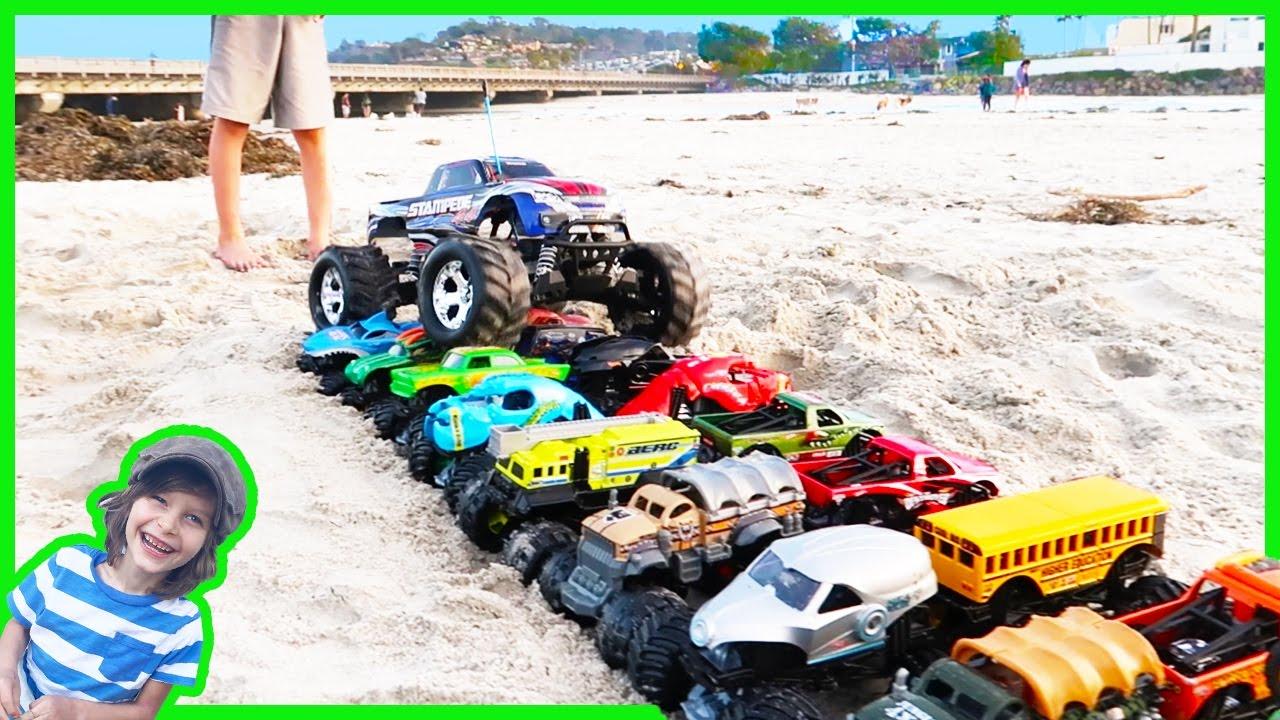 Rc Monster Truck Crushes Toy Monster Trucks Youtube