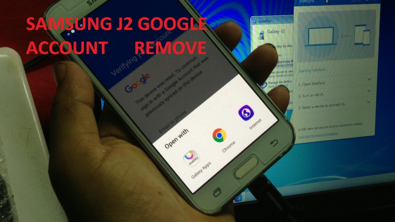 SAMSUNG J2 GOOGLE ACCOUNT BYPASS OR REMOVE BY Sidesync