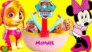 Paw Patrol Skye and Minnie Mouse Basket Surprises
