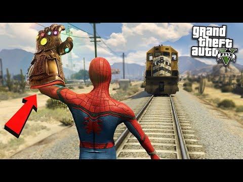 SPIDERMAN DESTROYS TRAIN w/ INFINITY - GTA 5 Mods