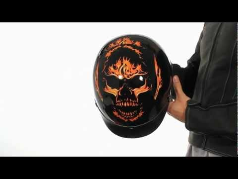 X184 Outlaw DOT Solid Black With Flaming Evil Skull Half Helmet At LeatherUp.com