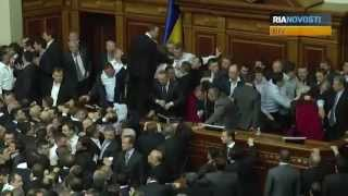 Ukraine Parliament Elects Speaker, Prime Minister Amid Brawls