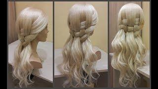 Красивое легкое плетение волос,необычный красивый образ.5min.❤Beautiful light hair weaving.